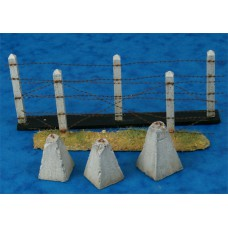dragon teeth, concrete poles, barbwire 1/35