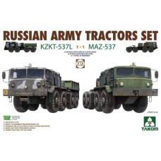 Russian army tractors KZKT-537L en MAZ-537 1/72