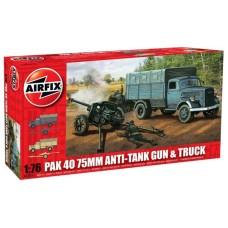 Pak40 75mm Anti tank gun & truck 1/76