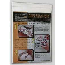 3 white decalsheets laser Decals 1/72