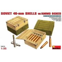 Soviet 45mm shells w. ammo boxes 1/35