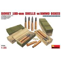 Soviet 100mm shells w. ammo boxes 1/35