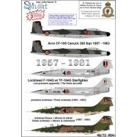 Avro CF-100 Canuck / Lockheed F-104G Starfighter Decals 1/48