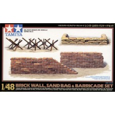 brick wall, sandbag and baricade set 1/48