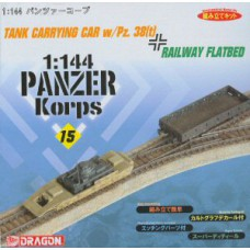 Tank carrying car w/Pz 38 en railway flatbed 1/144