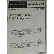 German WWII Staff insignias Decals 1/72