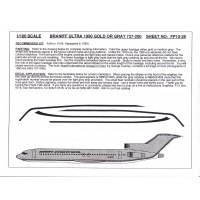 Braniff Ultra 1990 Gold or Gray 727-200 Decals 1/100