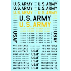 USAF & US Army lettering Decals 1/72